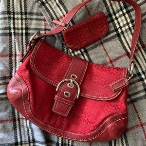 Red Coach Canvas Shoulder Bag & Change Purse